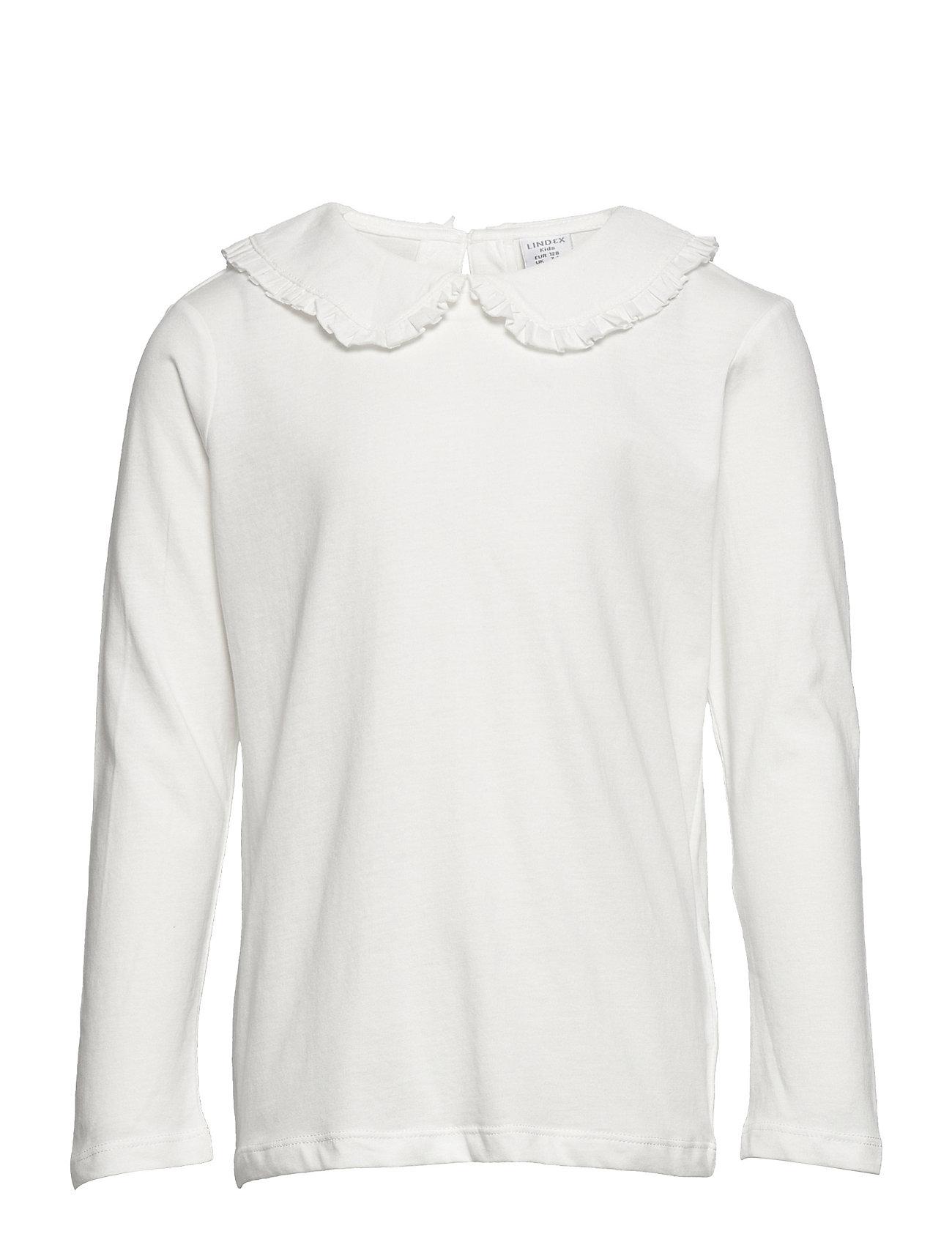 Top Big Collar Solid Langærmet T-shirt Hvid Lindex