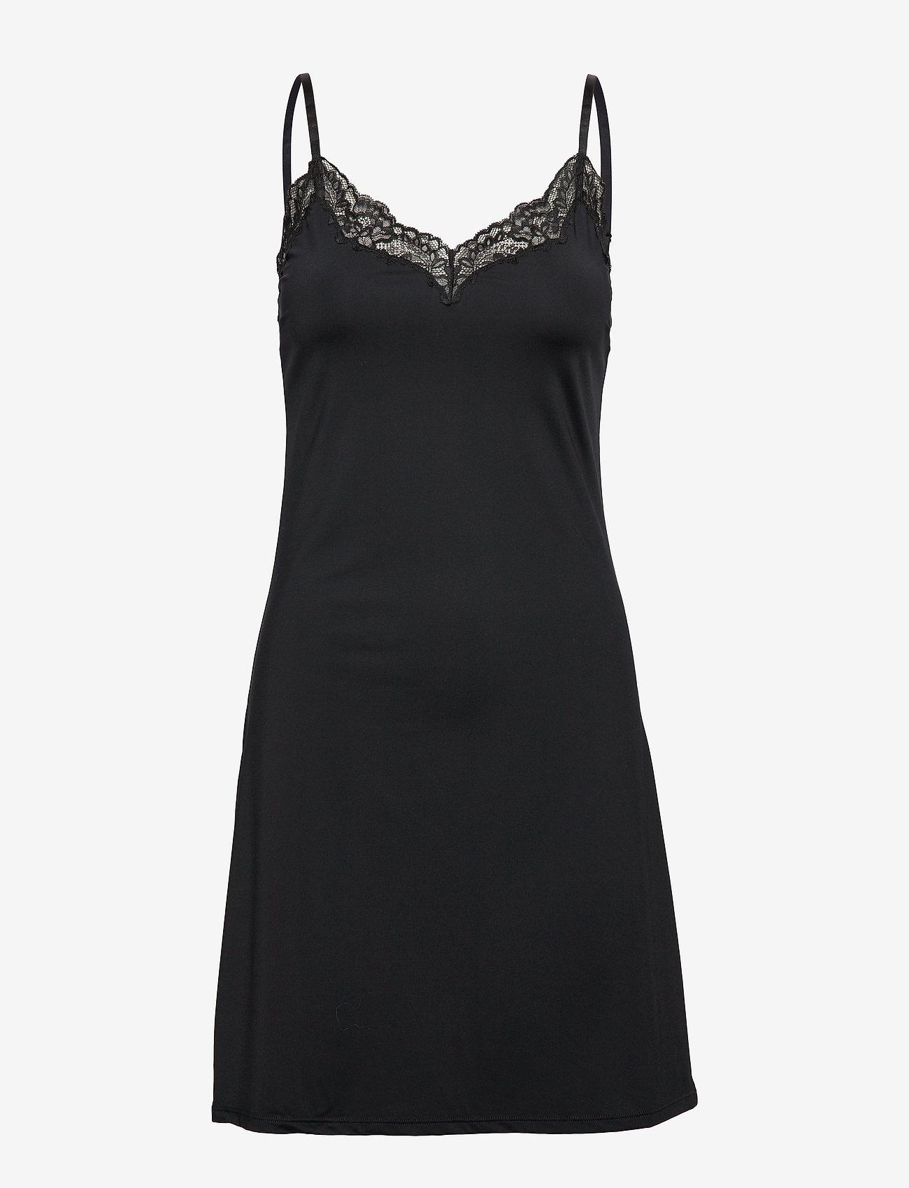 Lindex - Slip dress Micro w lace trim A - nachtjurken - black - 0
