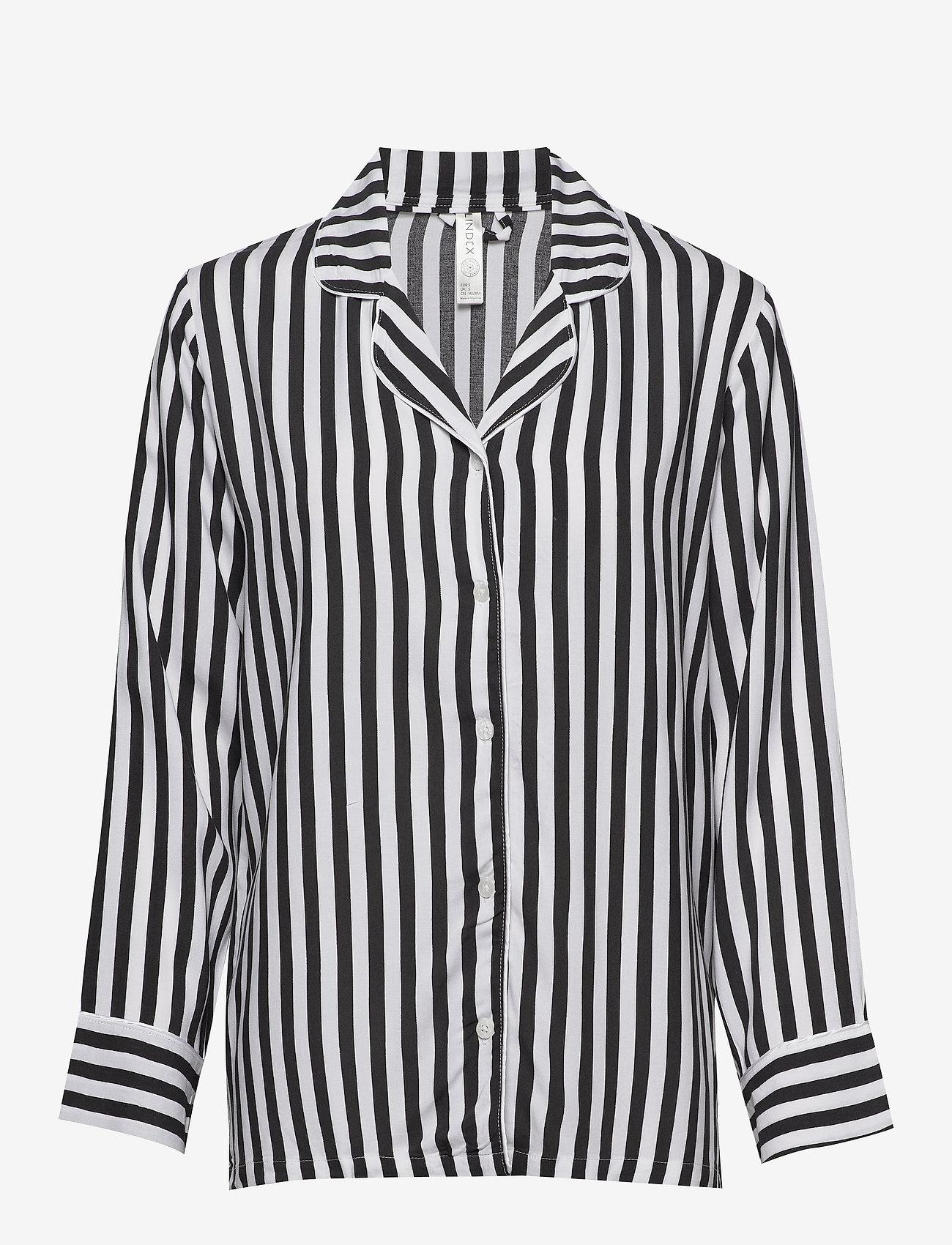 Lindex - Night Shirt Woven Stripe Elsa - Överdelar - offblack - 0