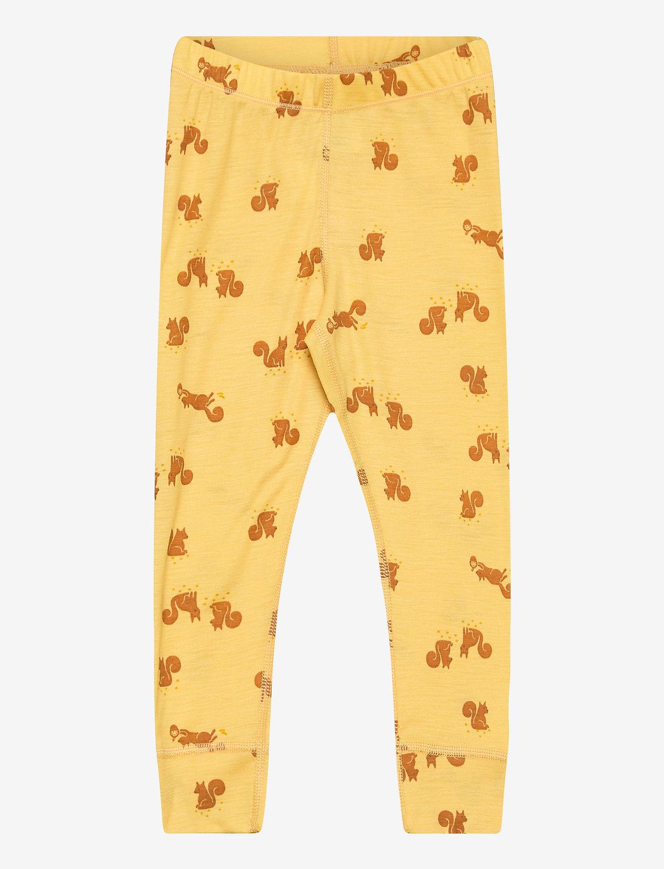 Lindex - Leggings baby merino uni aop - leggings - dusty yellow - 0