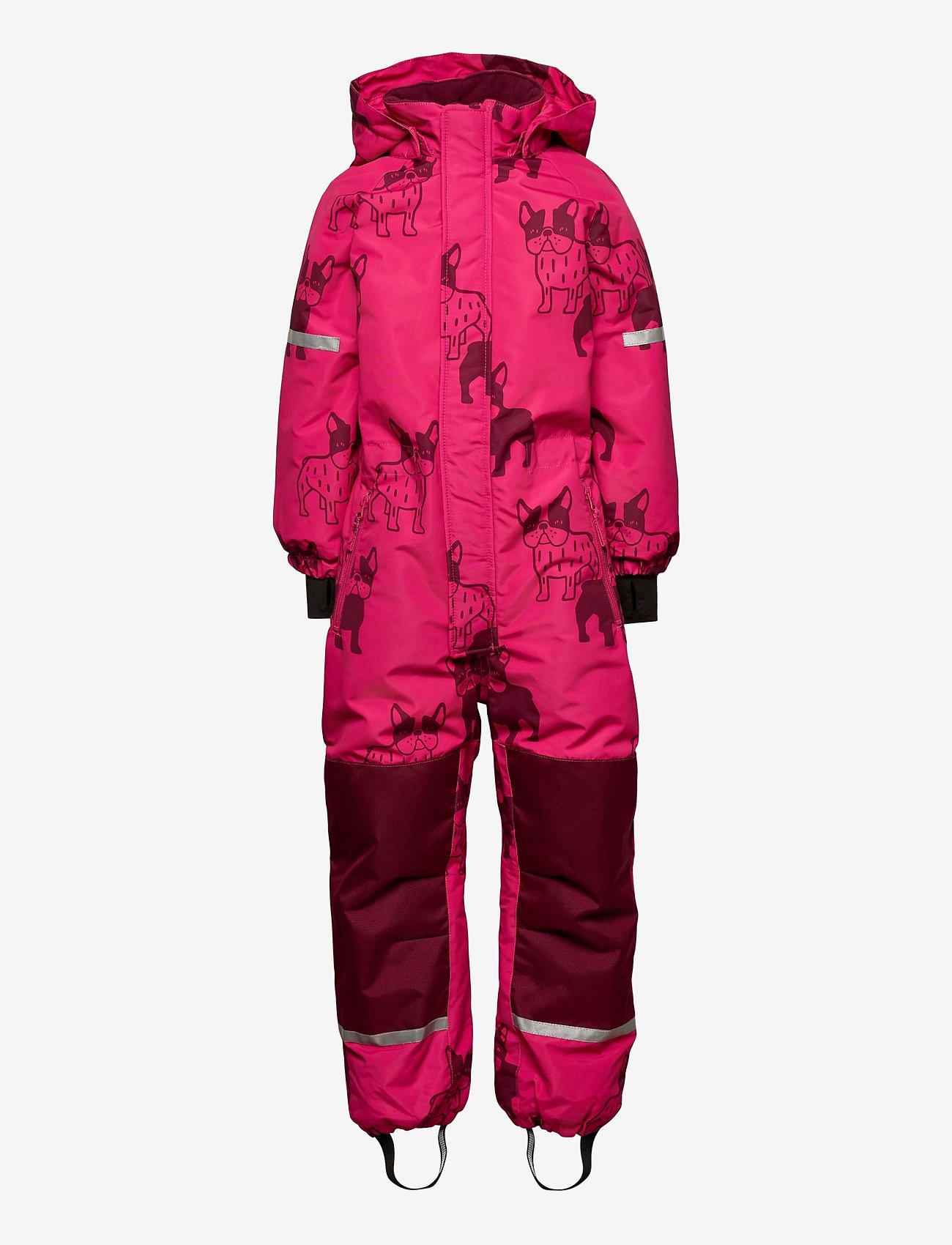 Lindex - Billie Overall dog aop - snowsuit - dark pink - 0