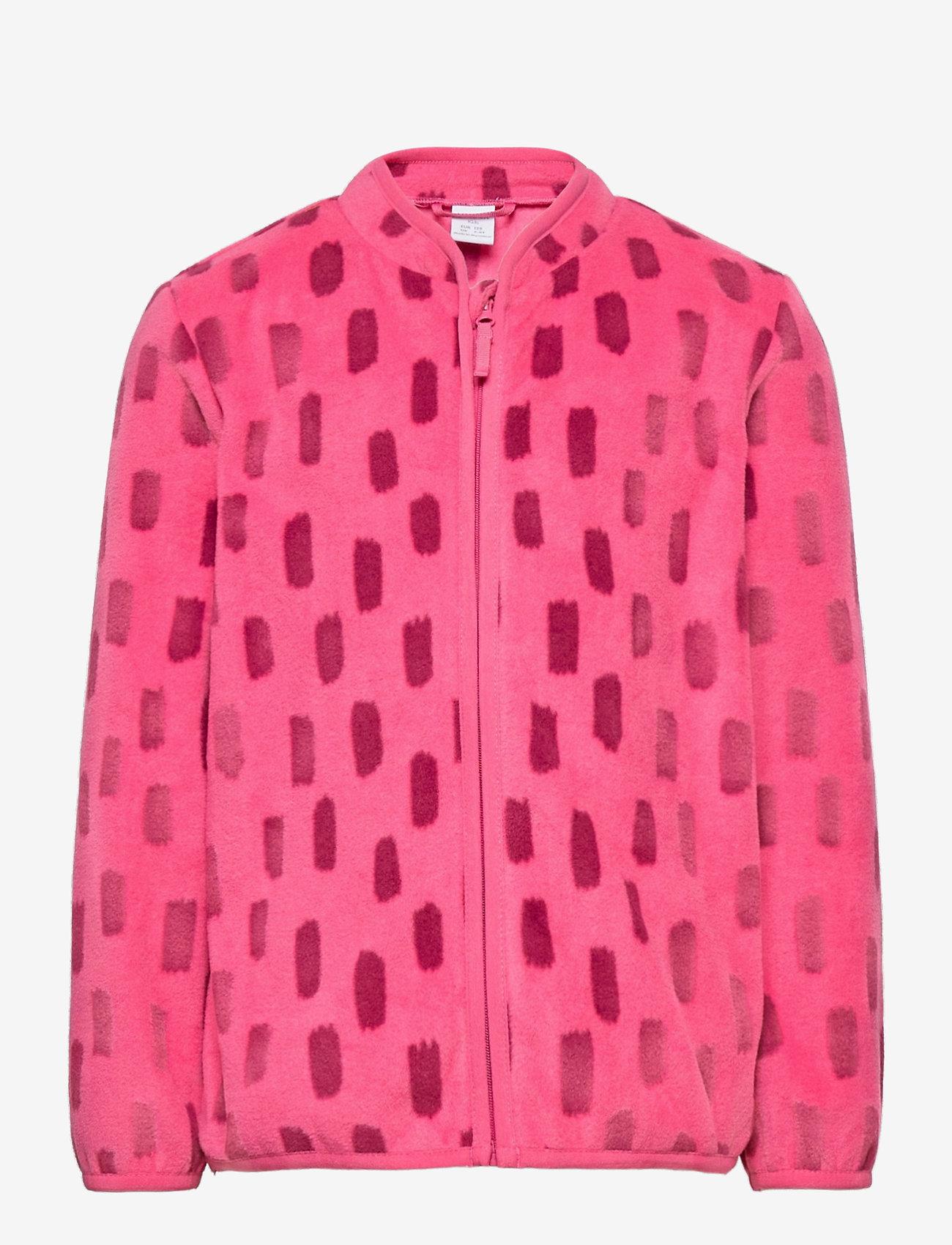 Lindex - Fleece jacket AOP - fleecetøj - dark pink - 0