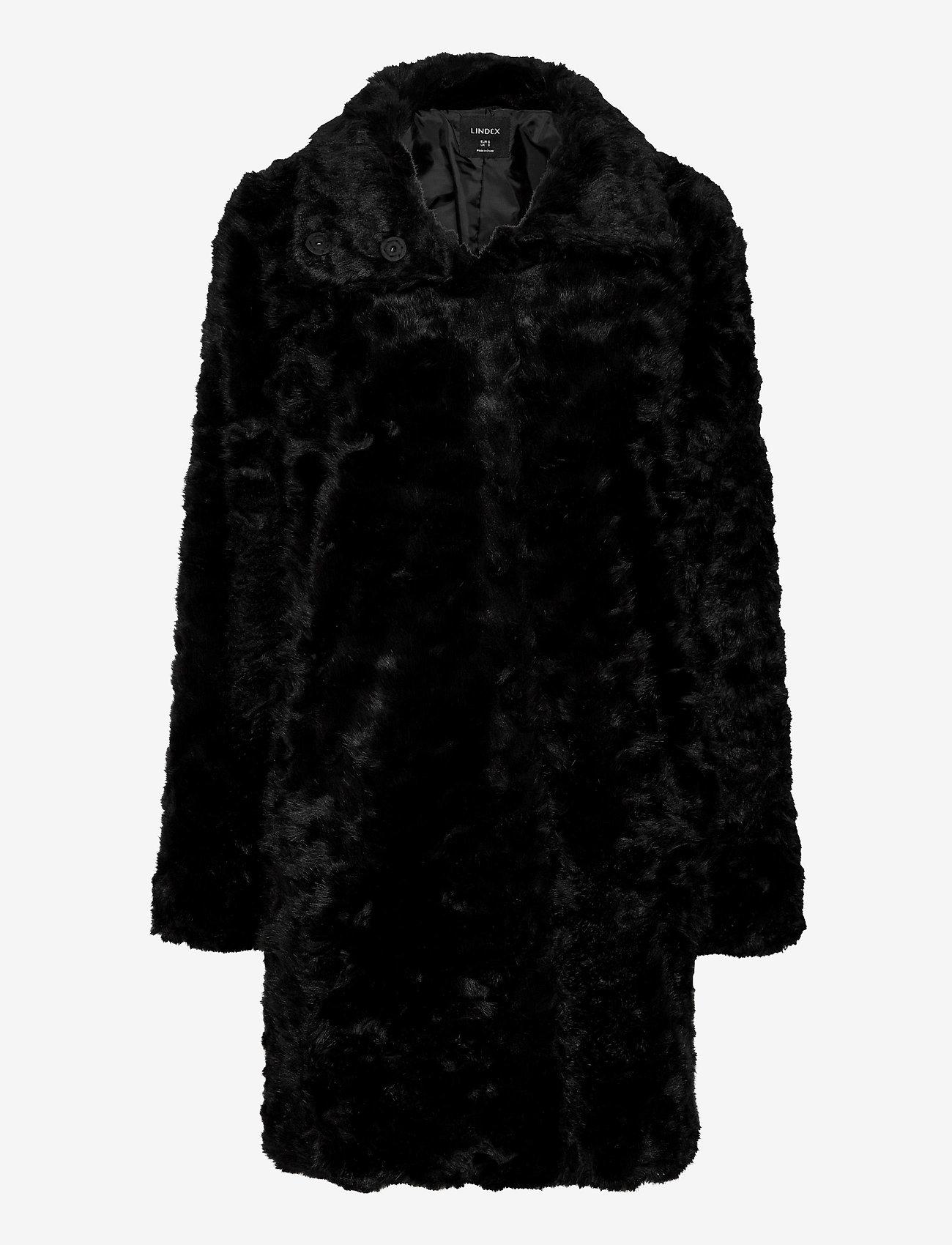 Lindex - Coat Moa fur - faux fur - black - 0