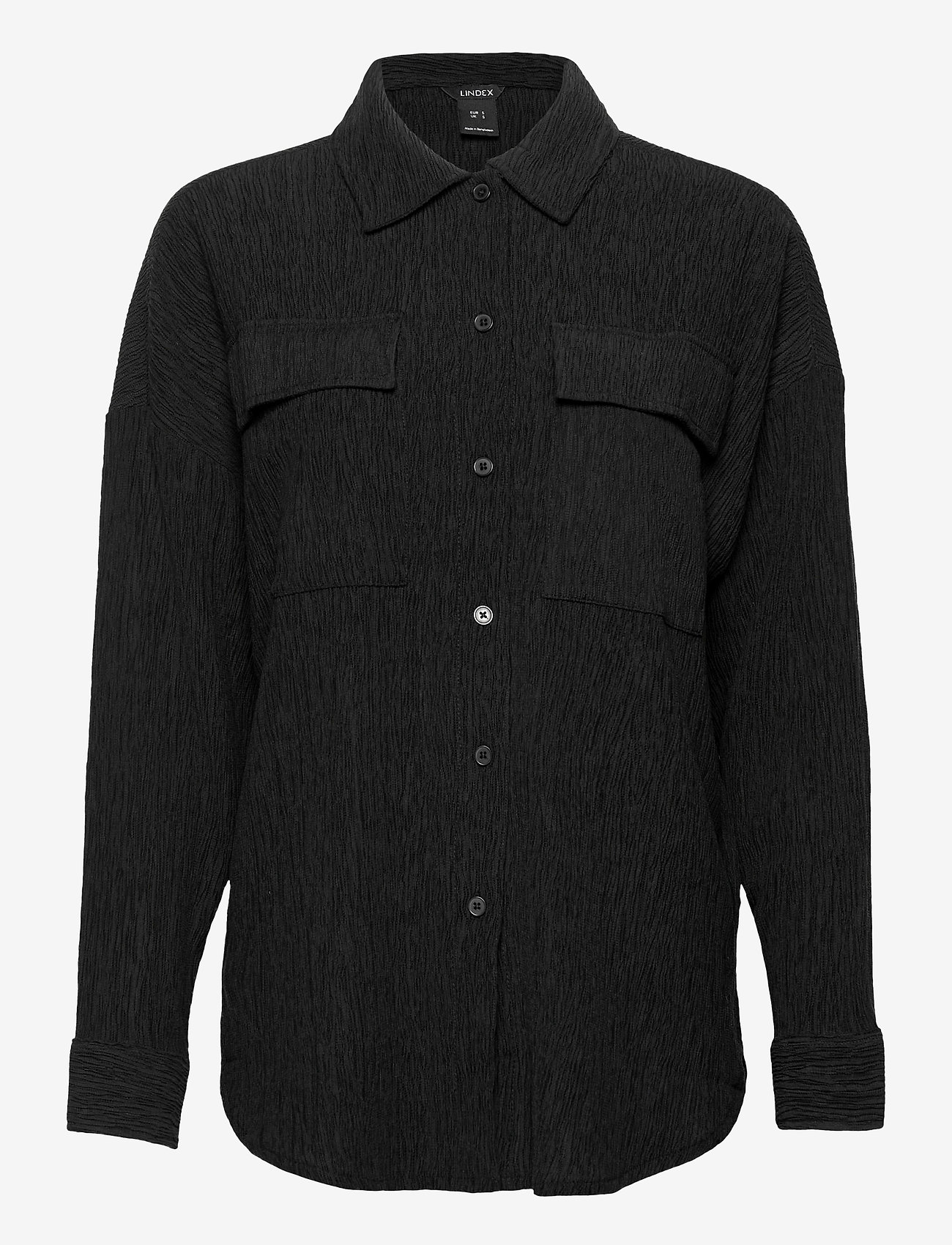 Lindex - Corinne Shacket Plisse - kleding - black - 0
