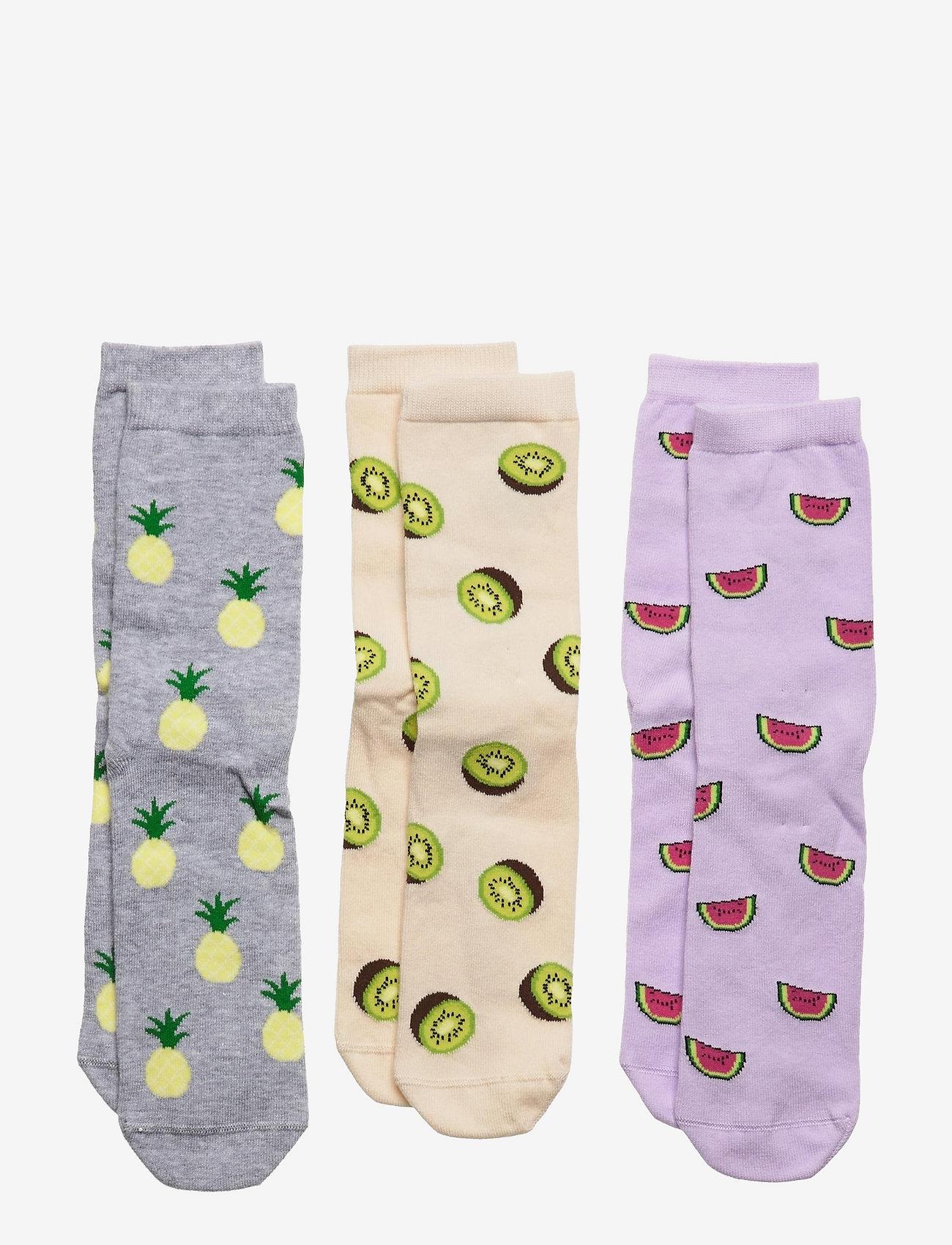 Lindex - Sock 3p BG fruit - skarpetki - lilac - 0