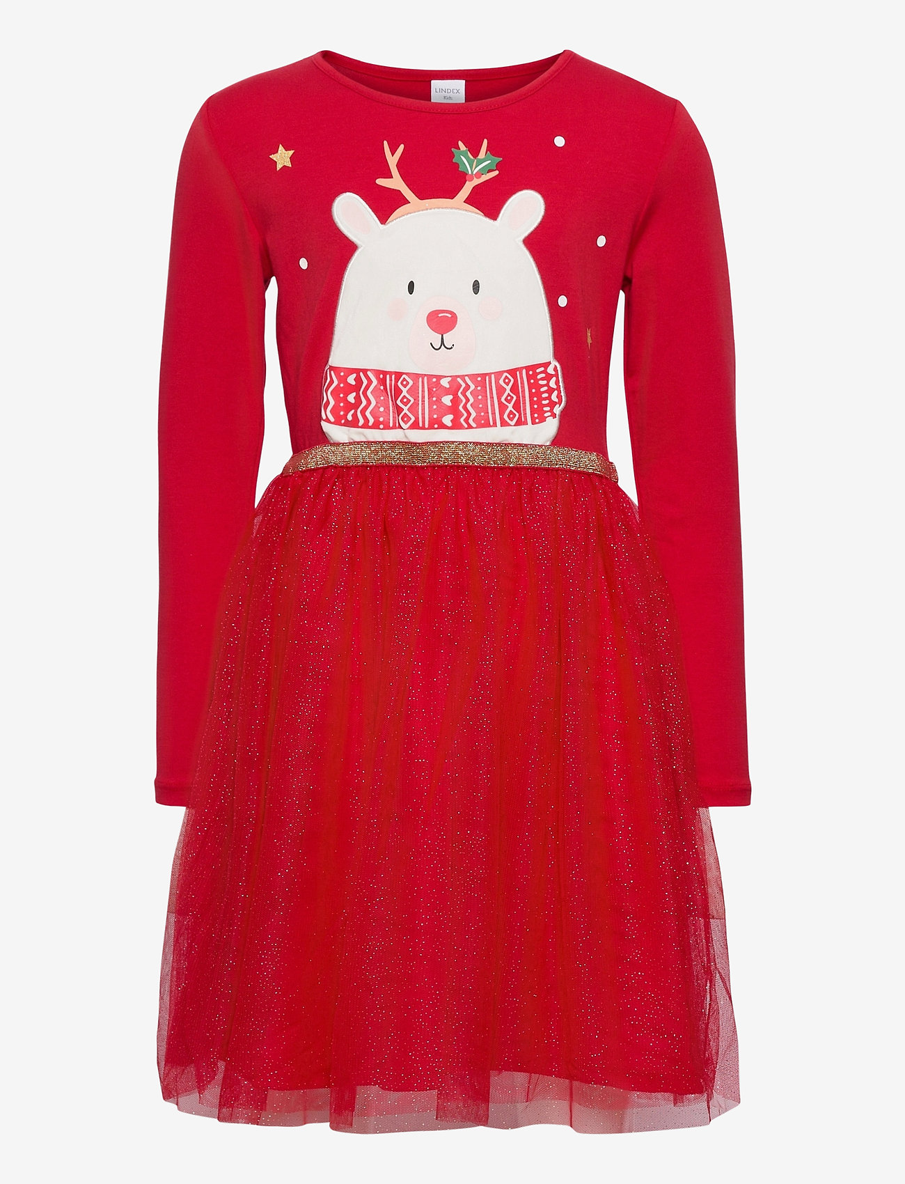 Lindex - Dress l s with tulle skirt - kleider - red - 0