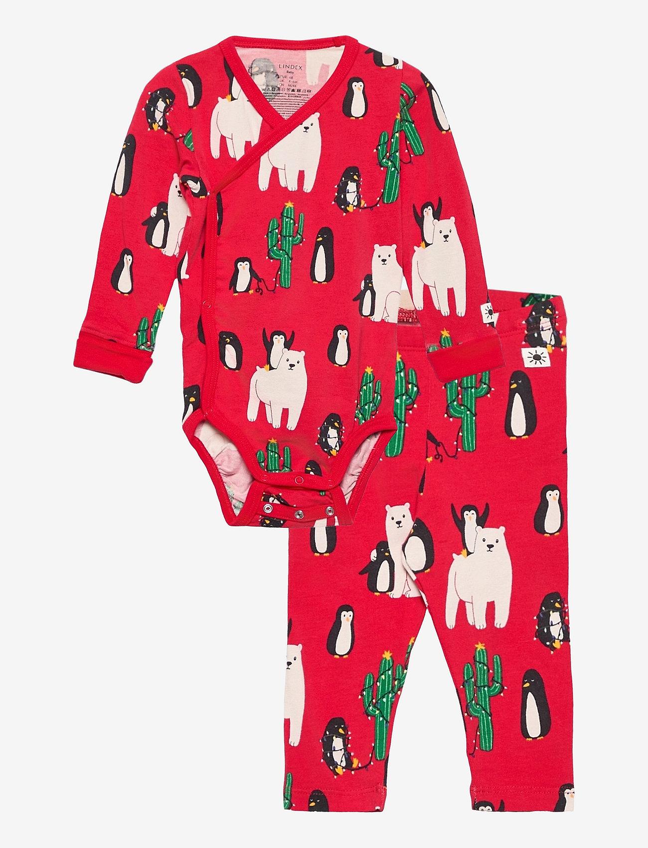 Lindex - Set Wrap Body leggings Funny x - jeu de 2 pièces - red - 0