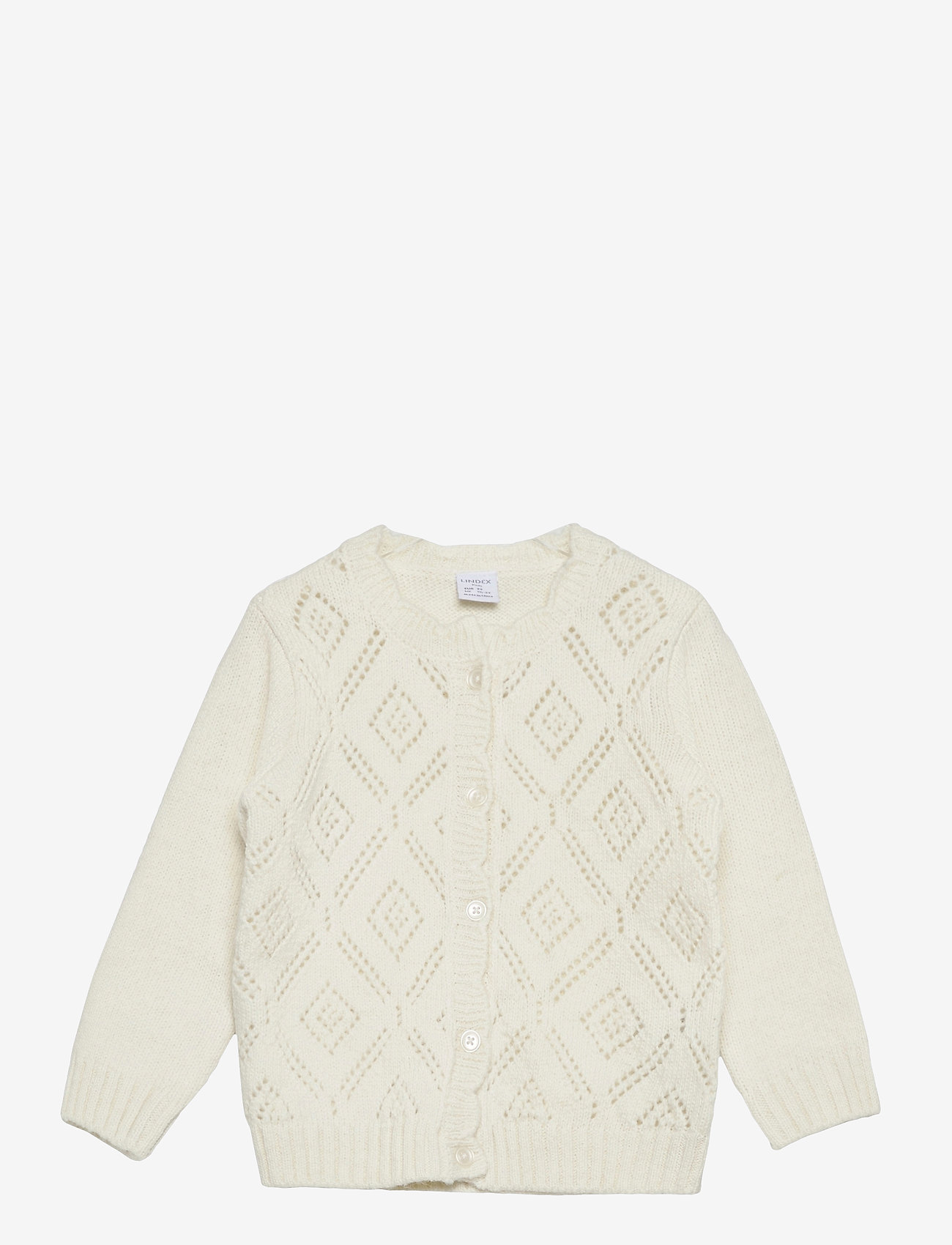Lindex - Cardigan patternknit scallop e - gilets - white - 0