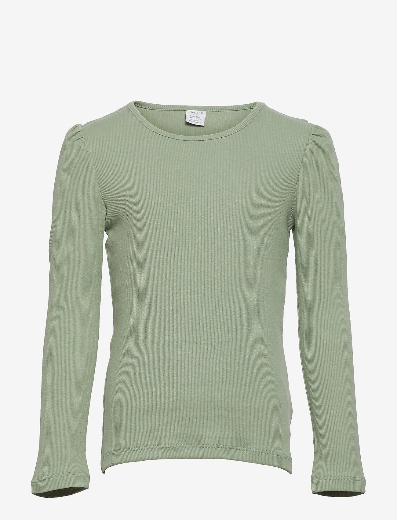 Lindex - Top rib puffsleeve - langärmelig - green - 0