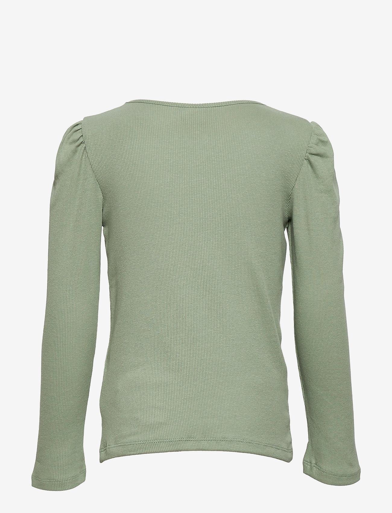 Lindex - Top rib puffsleeve - langärmelig - green - 1