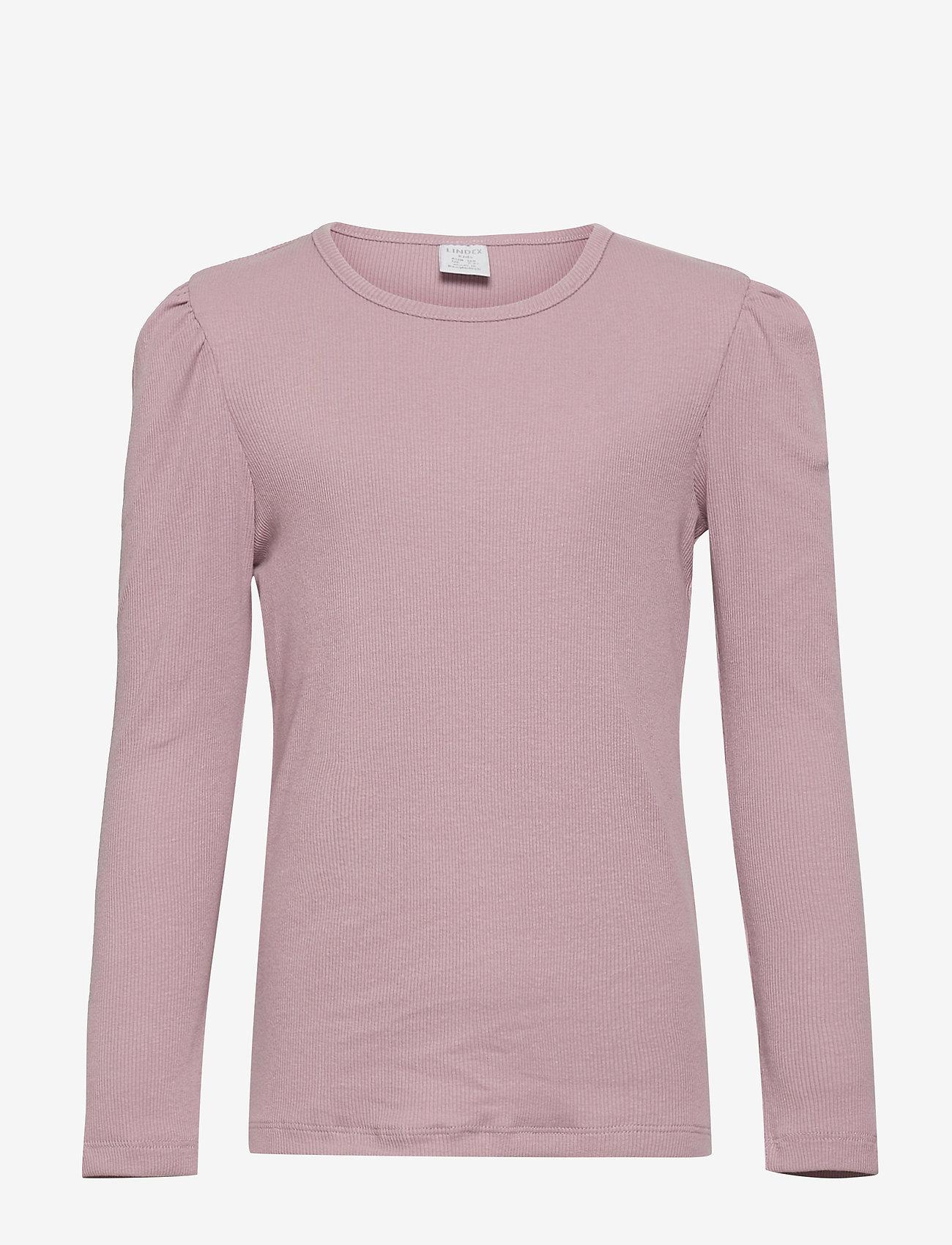 Lindex - Top rib puffsleeve - einfarbiges langarm-shirt - lilac - 0