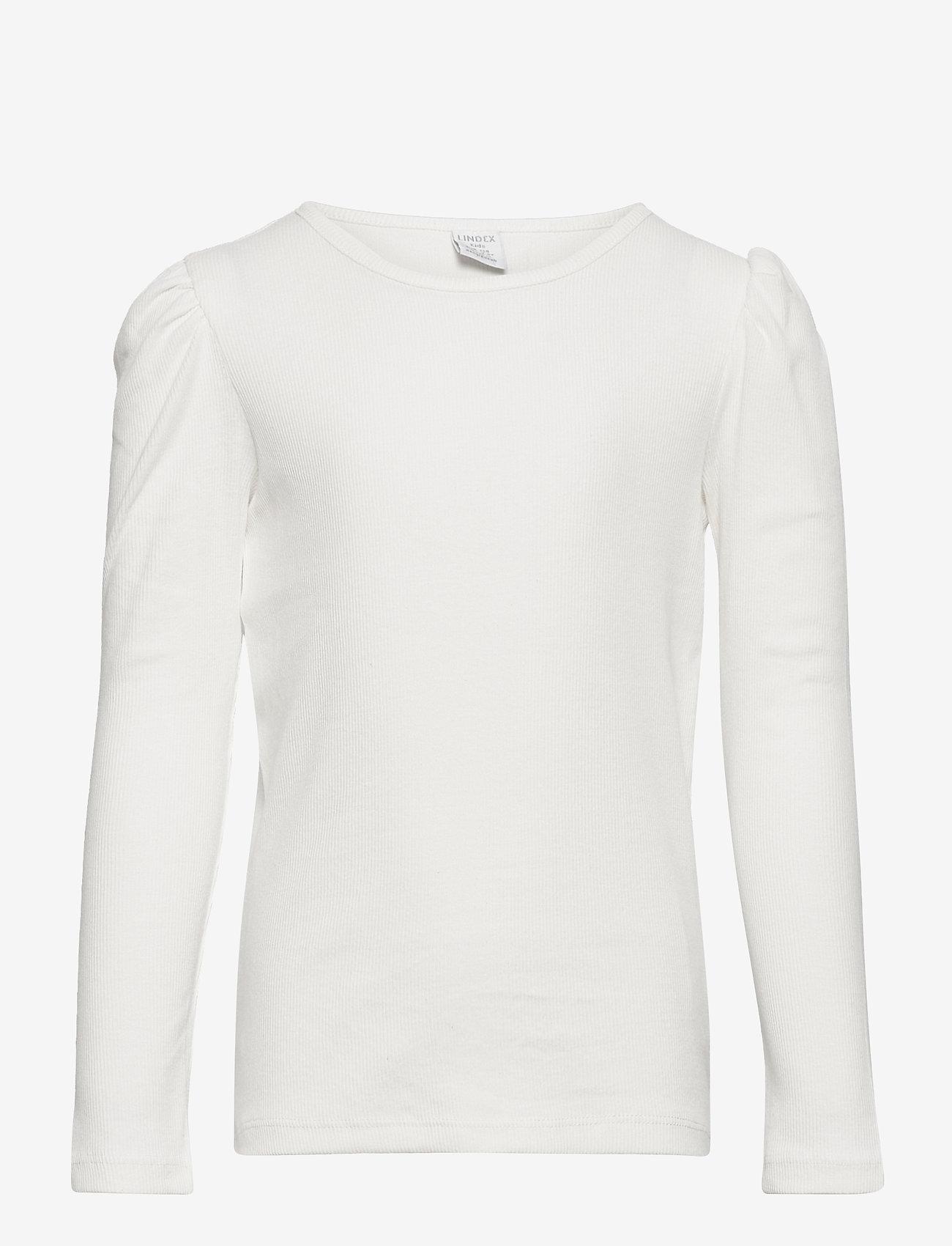 Lindex - Top rib puffsleeve - langärmelig - white - 1