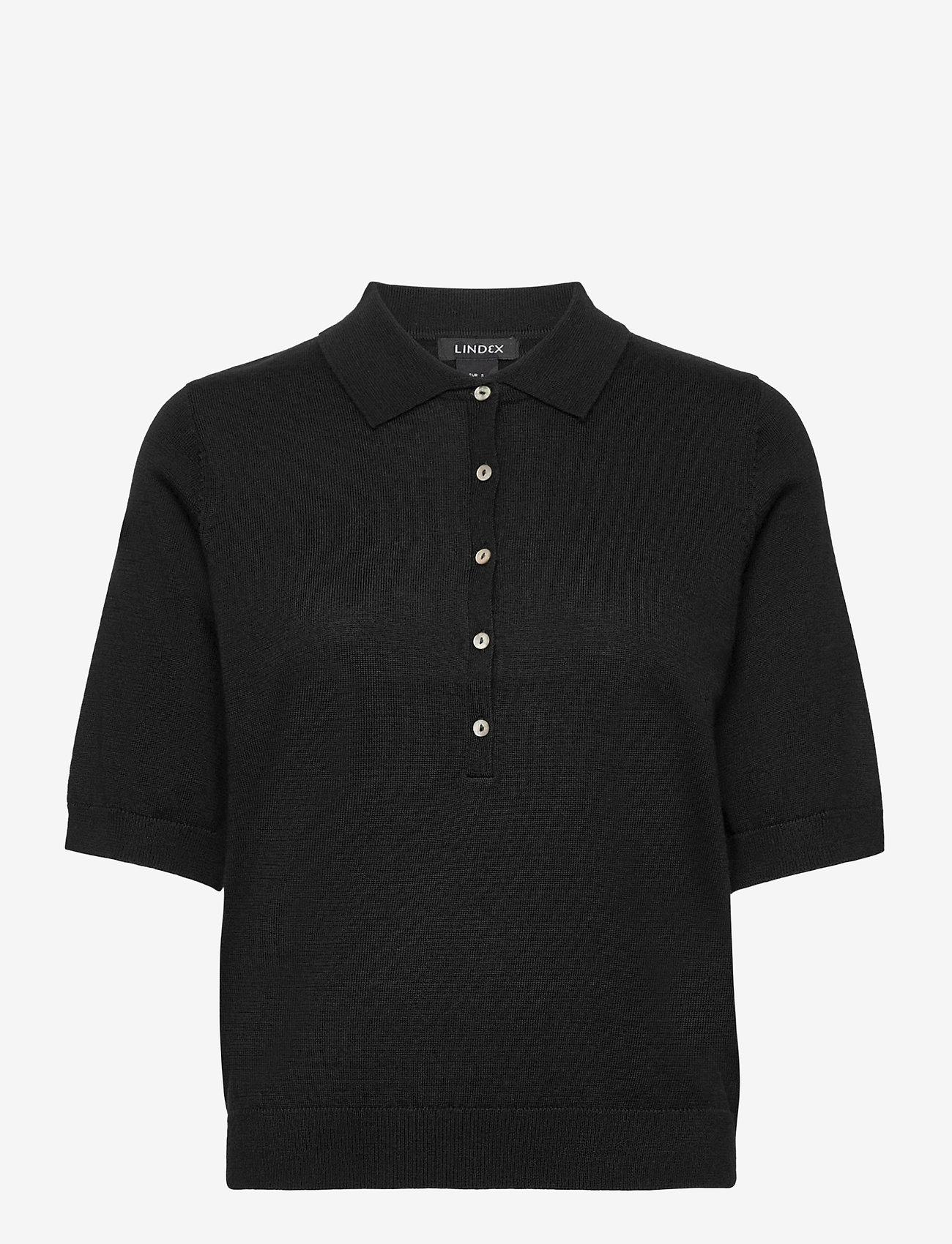 Lindex - Poloshirt Ru - gebreide t-shirts - black - 0
