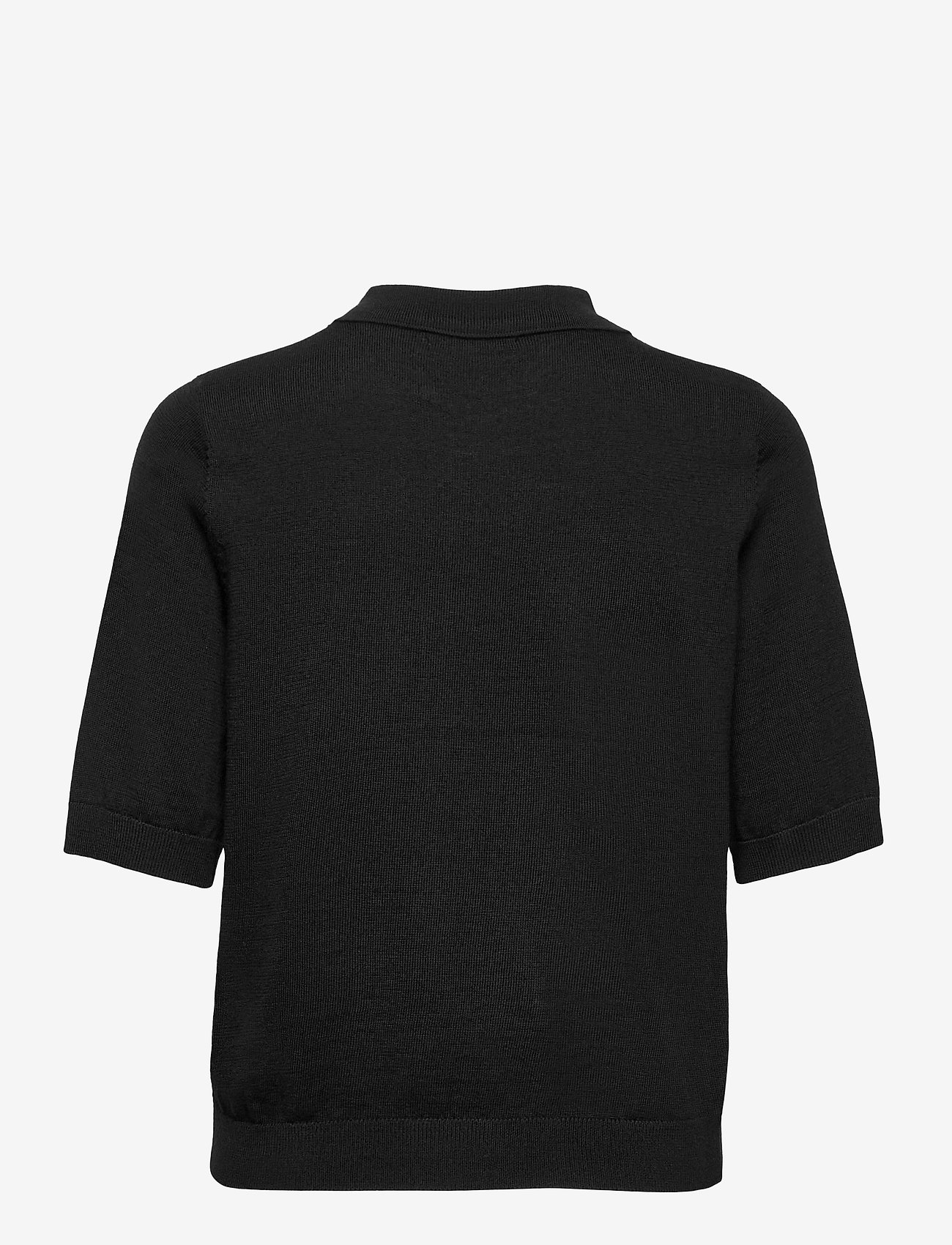 Lindex - Poloshirt Ru - gebreide t-shirts - black - 1