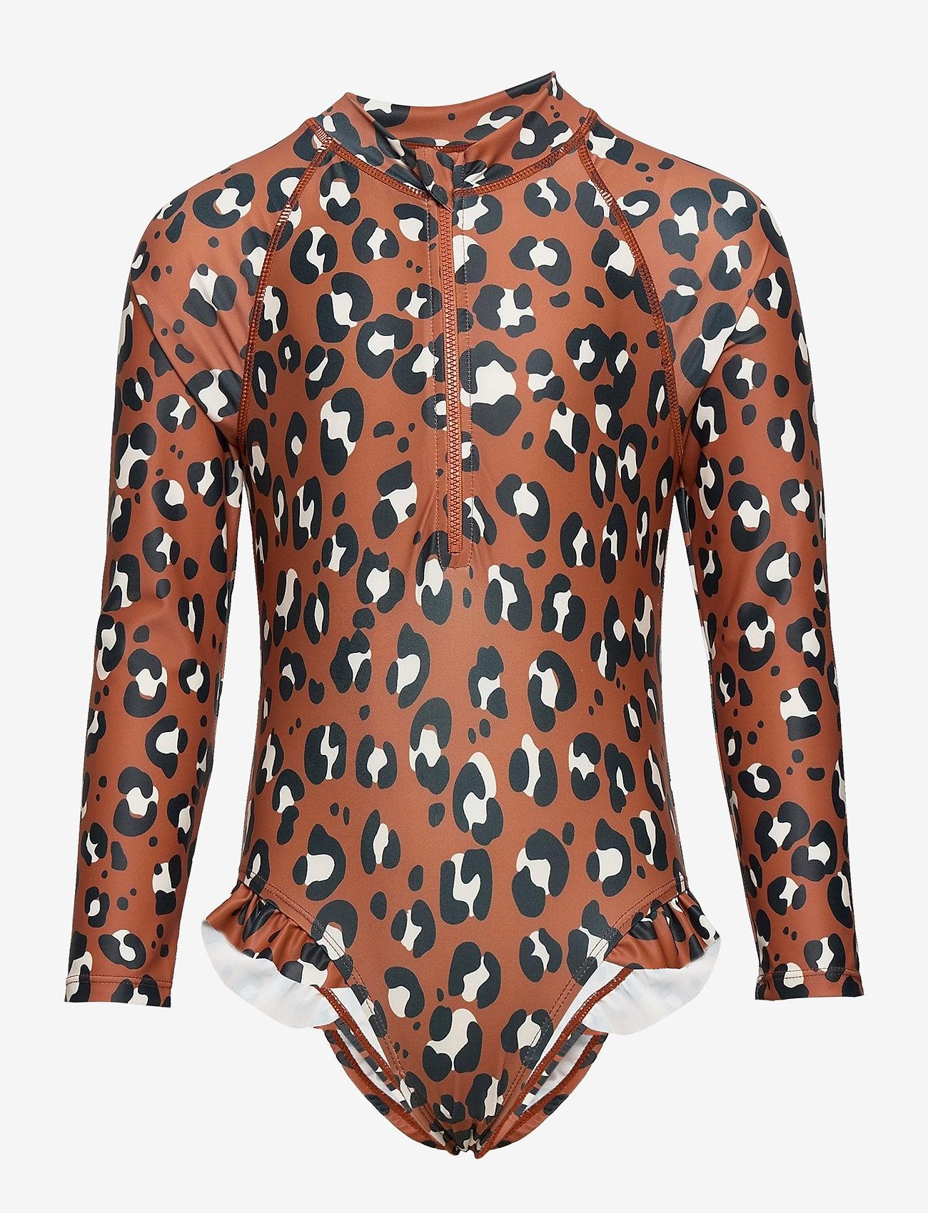 Lindex - Swimsuit UV aop leo dot long s - swimsuits - brown - 0