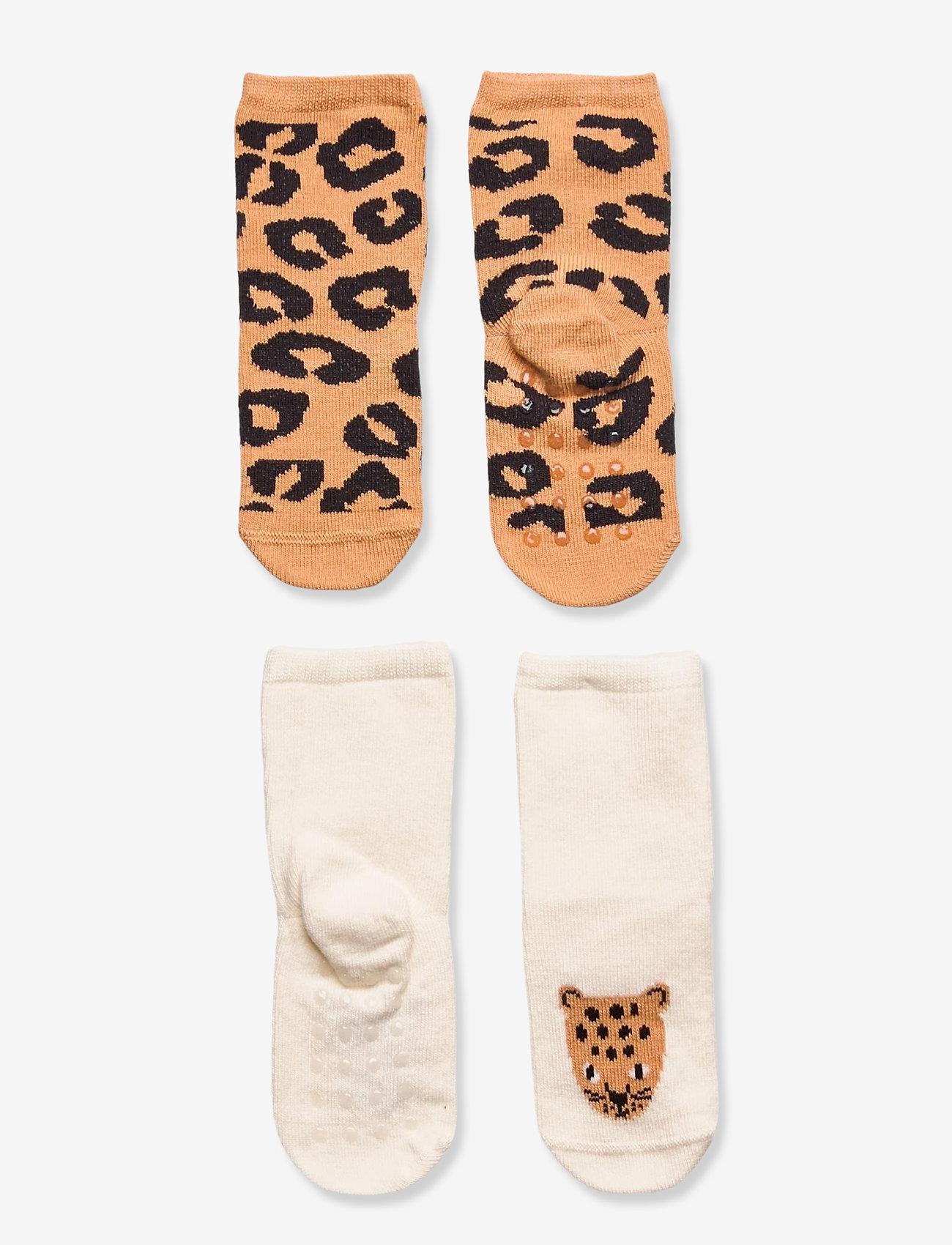 Lindex - Sock 2p Baby Leo brown tiger - skarpety & rajstopy - beige - 0