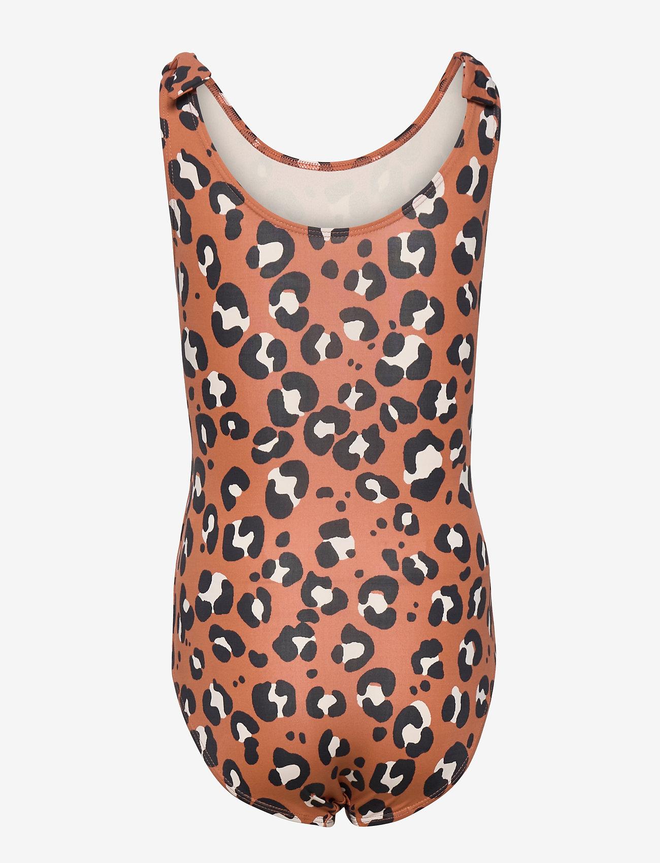 Lindex - Swimsuit BG aop leo w knots - swimsuits - brown - 1