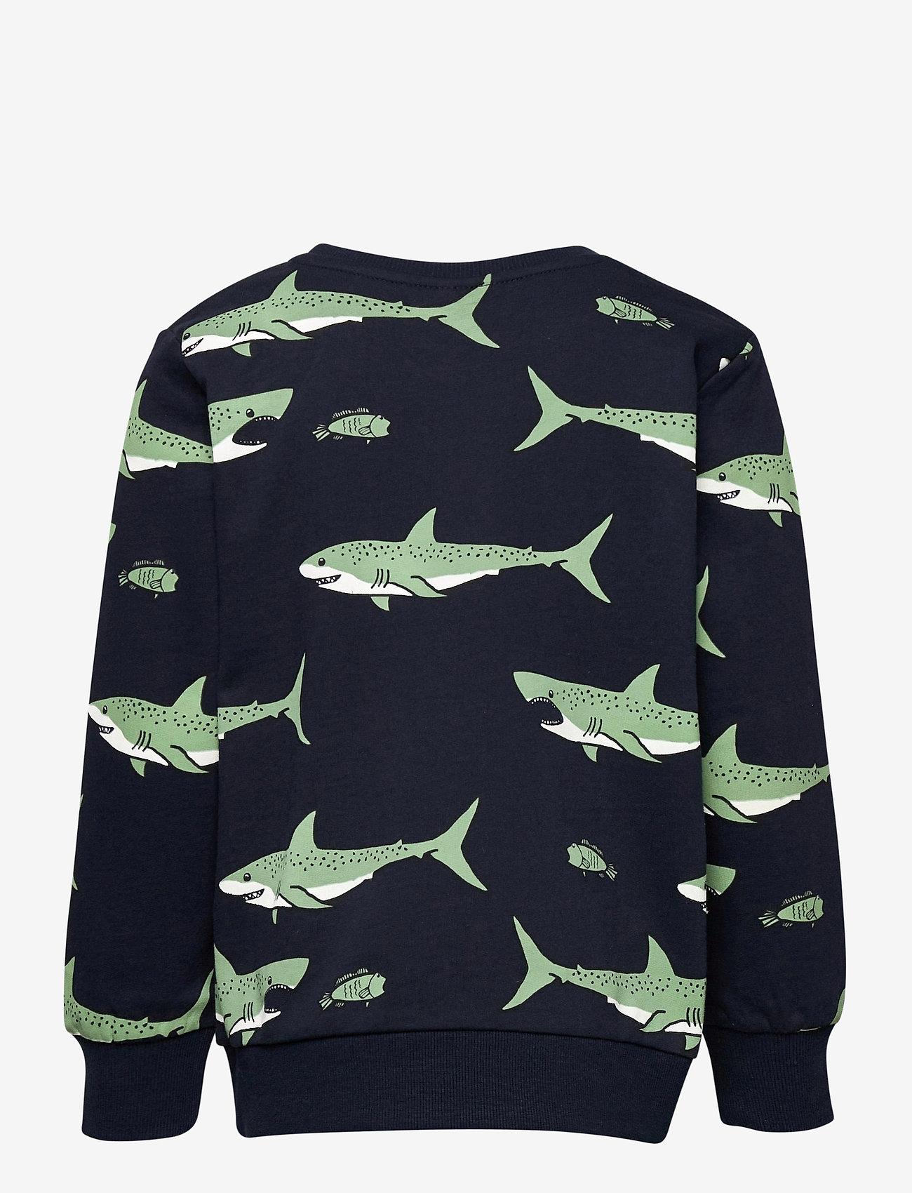 Lindex - Sweater AOP Shark - sweatshirts - blue - 1