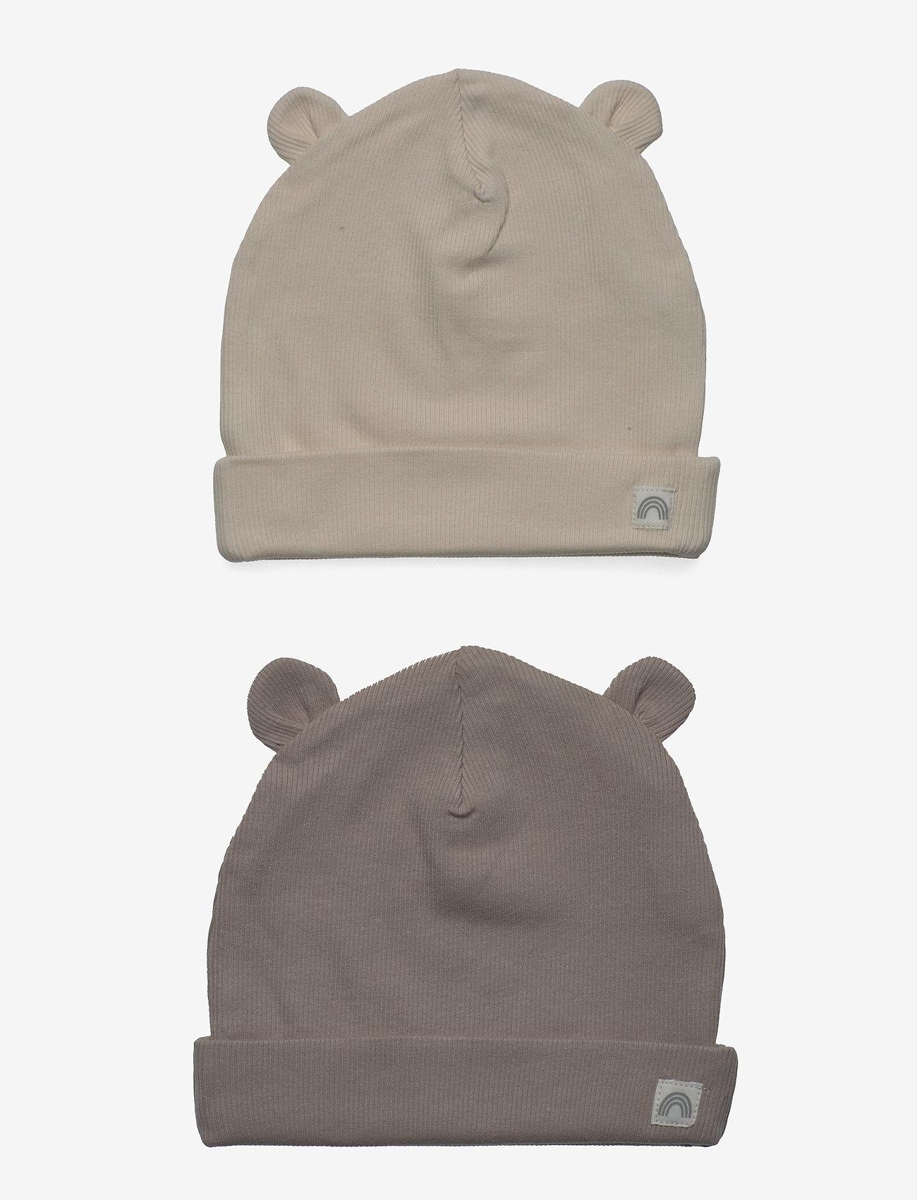 Lindex - Cap w ears 2pack - babyhuer - beige - 0