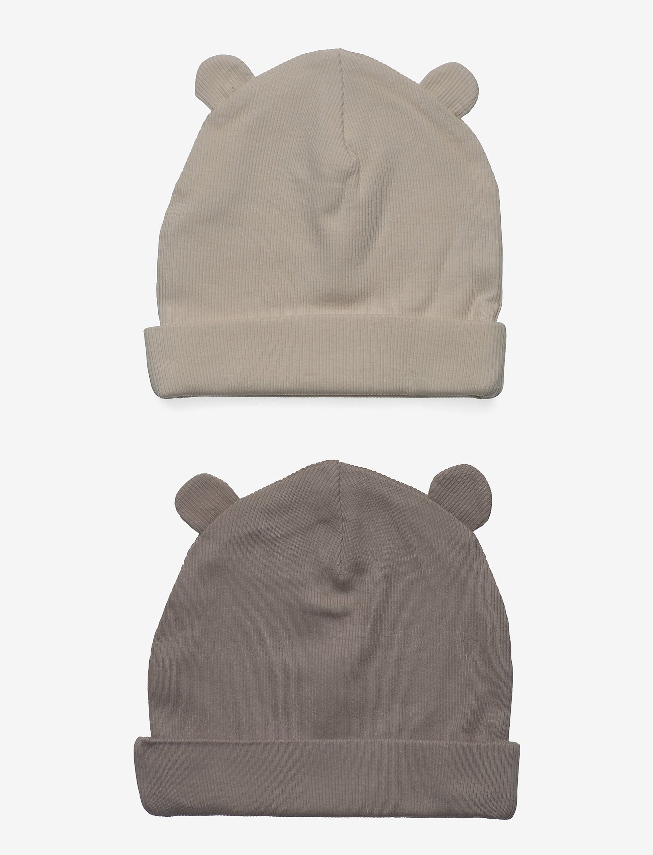 Lindex - Cap w ears 2pack - babyhuer - beige - 1