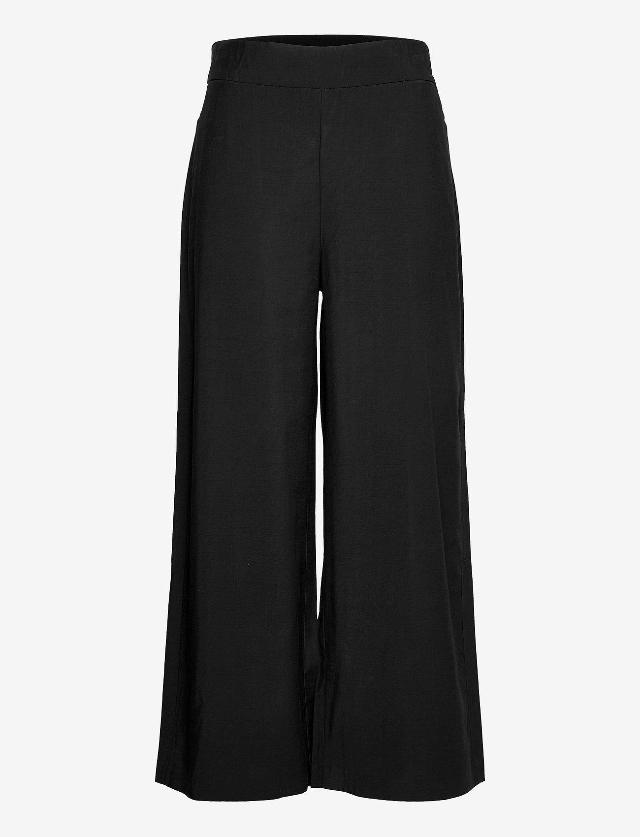 Lindex - Trouser Sanna cropped - bukser med brede ben - black - 0