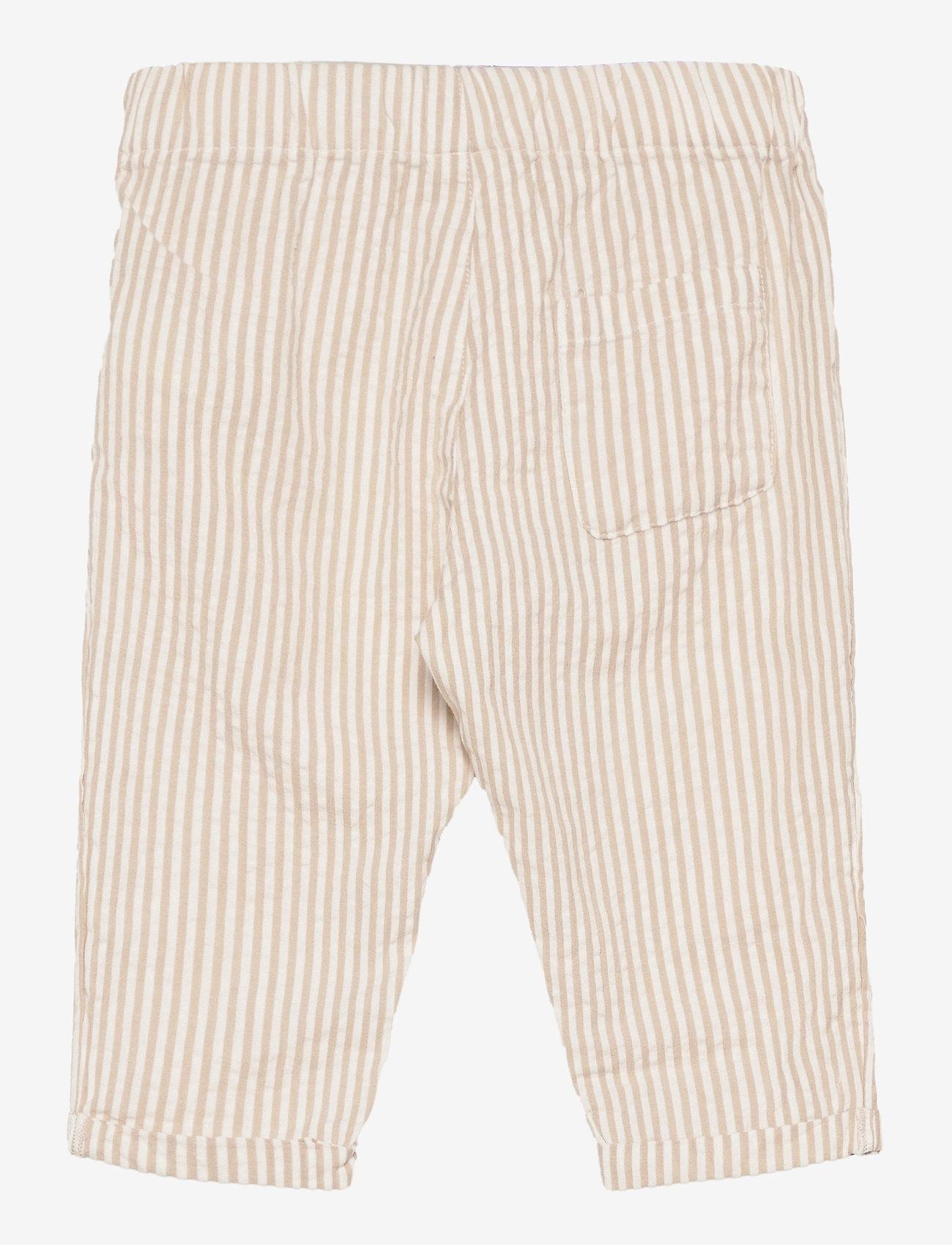 Lindex - Trouser woven seersucker - trousers - beige - 1