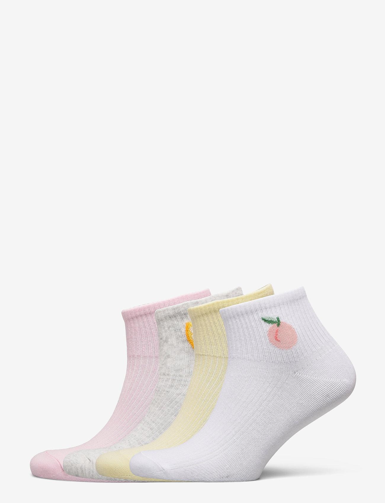 Lindex - Sock Ankle 4 p Fruit Short - skarpety & rajstopy - pink - 0