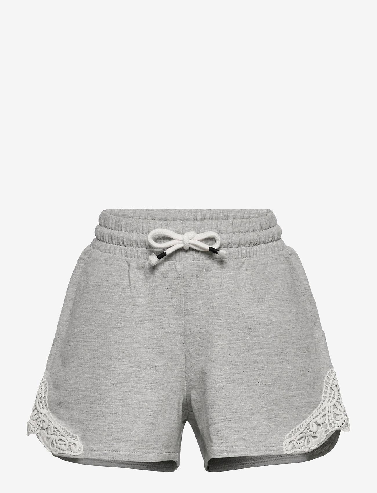 Lindex - Shorts jersey lace - shorts - grey - 0