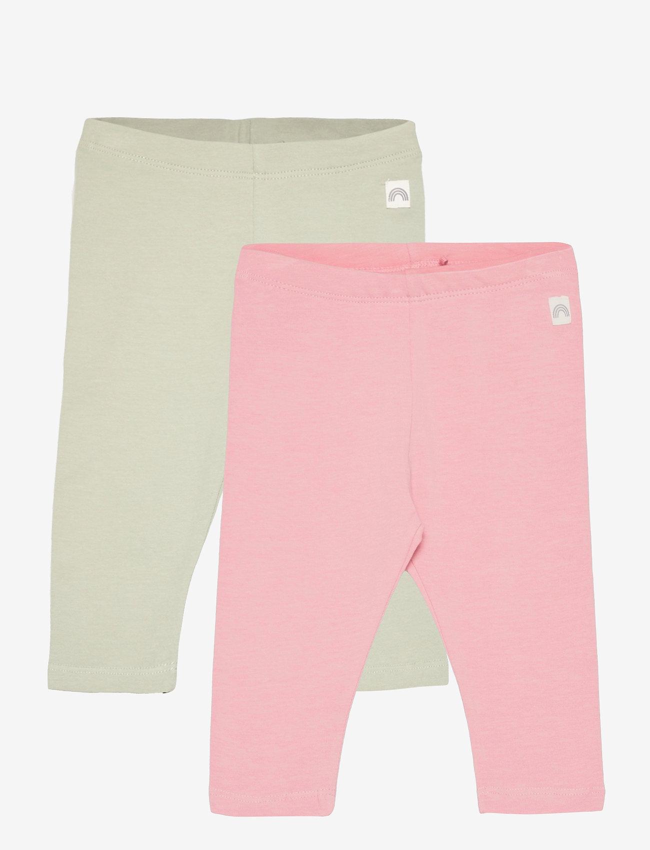 Lindex - 2 pack leggings solid - leggings - pink - 0