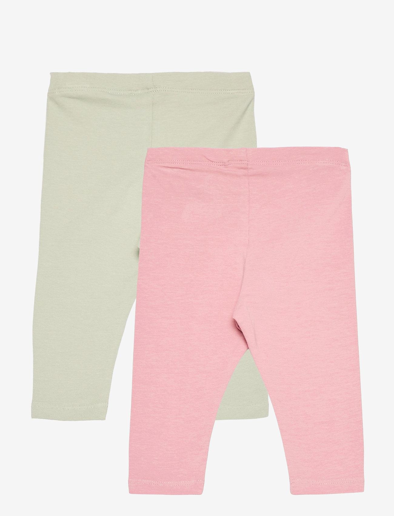 Lindex - 2 pack leggings solid - leggings - pink - 1