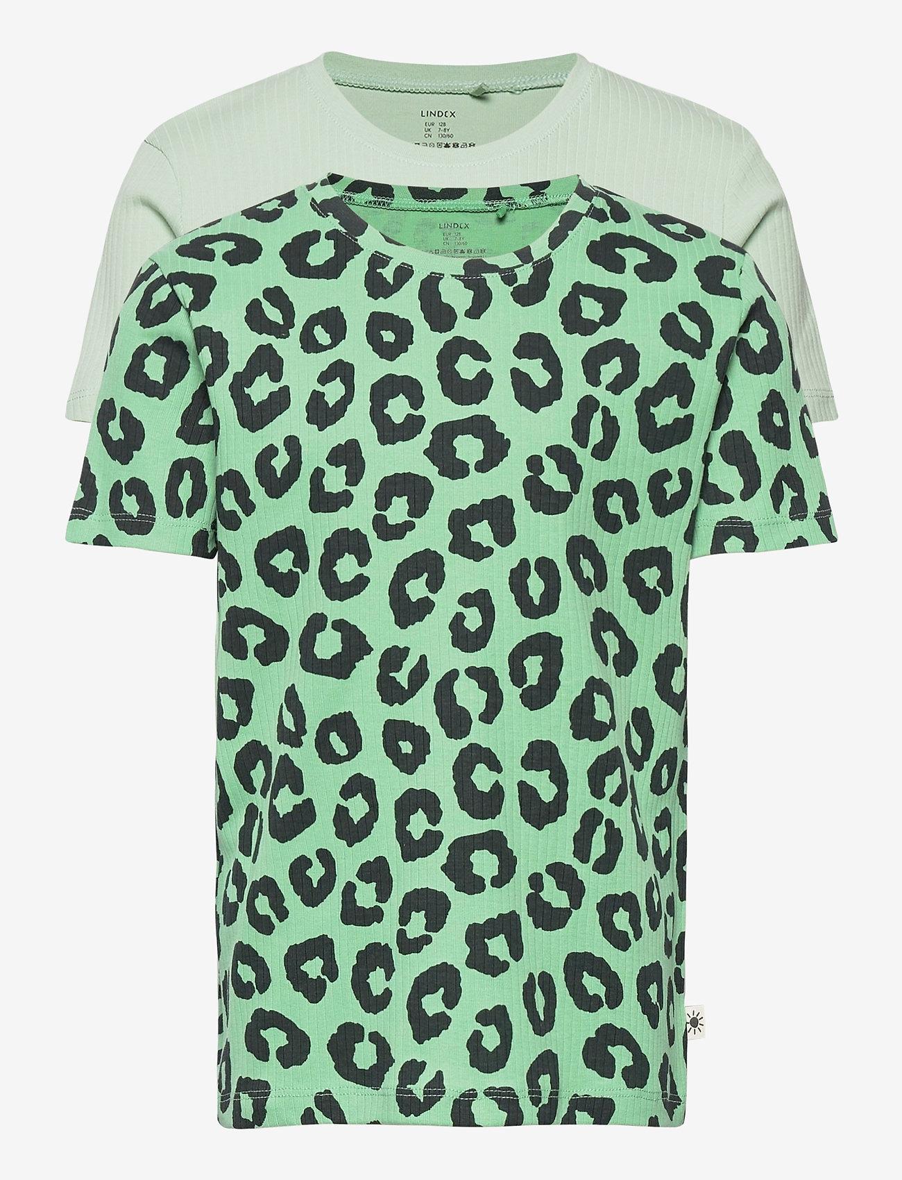 Lindex - Top Leo   solid 2 pack - kortærmede - green - 0