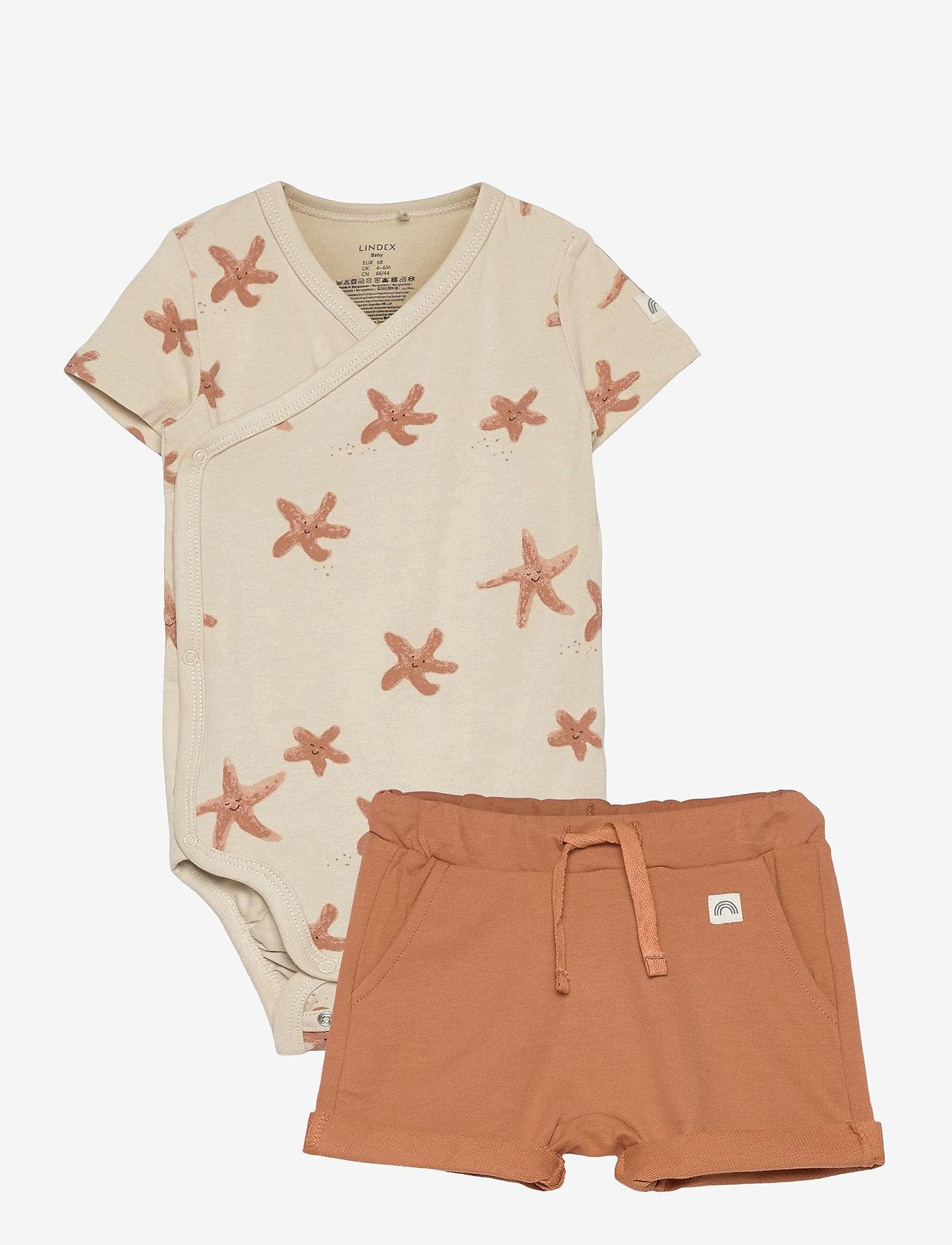 Lindex - Set wrap shorts jellyfish star - 2-delte sæt - brown - 0