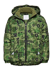 Green puffer jacket with excavators - DARK GREEN