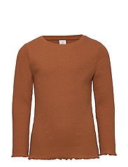 Ribbed long sleeve top - BROWN
