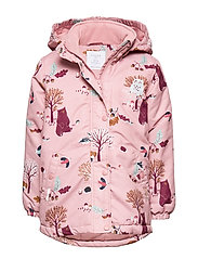 Padded pink jacket with pattern - DUSTY PINK