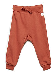 Sweatpants with white side stripes - DUSTY RED