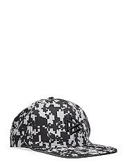 Flat peak cap with reflective print - BLACK