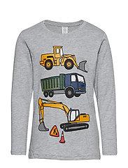 Grey melange top with vehicle print - GREY MELANGE