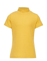 Ribbed short sleeve top with mock neck - DUSTY YELLOW