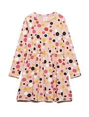 Long sleeve jersey dress with dots - OFF WHITE