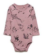 Long sleeve bodysuit with cat pattern - DUSTY LILAC