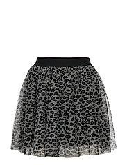 Mesh skirt with leo print - LIGHT BEIGE