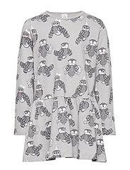 Grey long sleeve tunic with owl pattern - LIGHT GREY