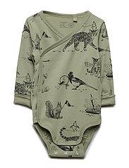 Wrap bodysuit with animal pattern - DUSTY GREEN