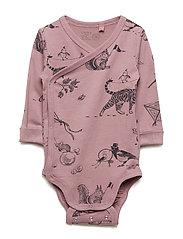 Wrap bodysuit with animal pattern - DUSTY LILAC