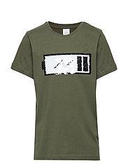 Green t-shirt with reversible sequins - DK KHAKI GREEN