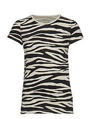 Short sleeve top with zebra print - OFFBLACK
