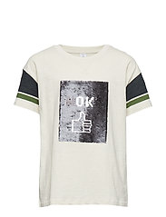 Oversized t-shirt with reversible sequins - LT BEIGE