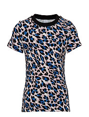 Ribbed top with leopard print - BLUE