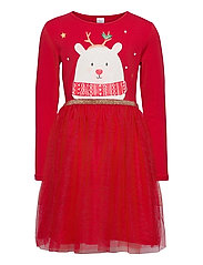 Dress l s with tulle skirt - RED